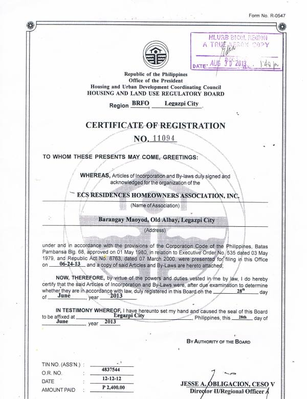 HLURB issued the Certificate of Registration of ECS